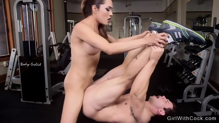 Big tits tranny anal pounds guy at gym - scene 7