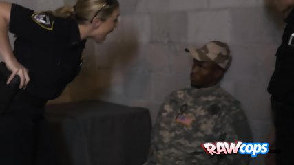 Naughty female cops make a fake soldier fuck both of their pussies