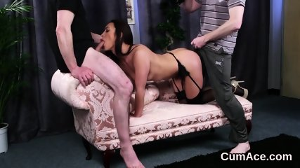 Foxy sex kitten gets cumshot on her face swallowing all the juice - scene 8