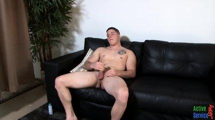 Handsome solo marine spraying hot jizz