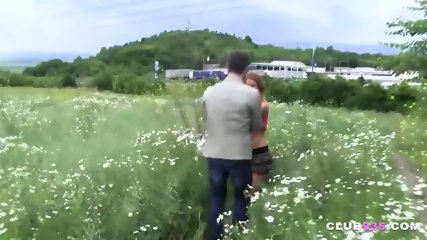 Sweet blonde gal gets fucked hard in the outdoors