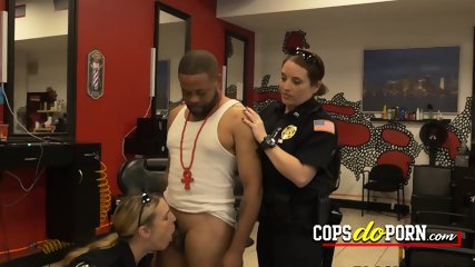 Keith Williams is subdued by milf cops into making his cock rock hard solid