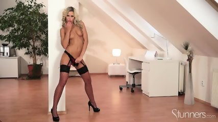 Sexy Blonde With Fishnets - scene 8