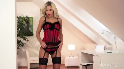 Sexy Blonde With Fishnets - scene 3