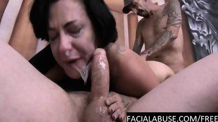 Cock deep in her throat & cunt