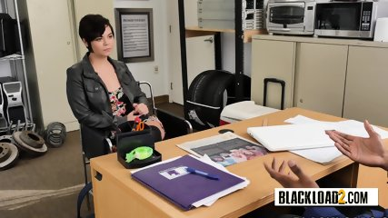Short haired chick scores fast cash by taking directors big cock