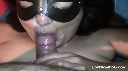 Fat Mature Masked Bitch Sucks Cock And Gets A Huge Facial