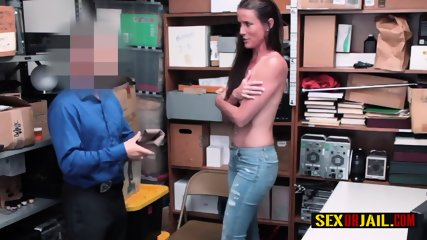 Sofie Marie is caught by horny rough officer when shoplifting