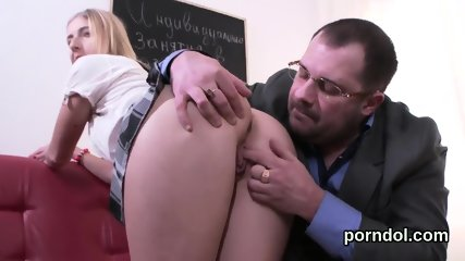 Cuddly college girl gets teased and reamed by aged teacher