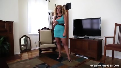 Curly Blonde Gives Fantastic Handjob - scene 3