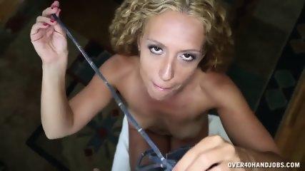 Curly Blonde Gives Fantastic Handjob - scene 4