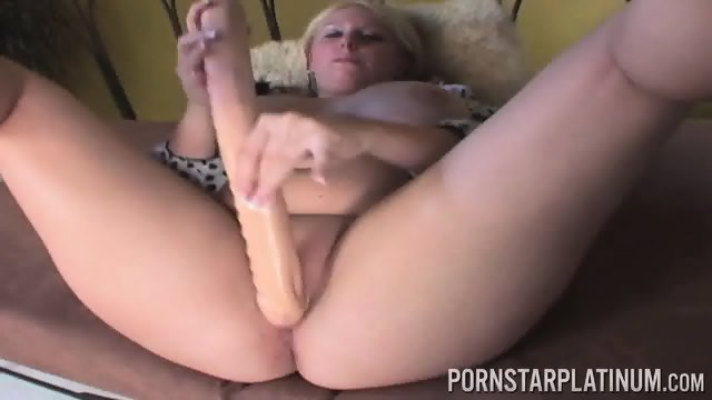 Chubby Blonde Uses Double-ended Dildo
