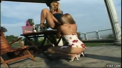 Two tight blonde Lesbians please themselves outdoor - scene 11