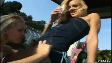 Two tight blonde Lesbians please themselves outdoor - scene 5