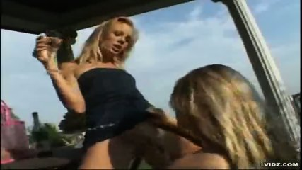 Two tight blonde Lesbians please themselves outdoor - scene 7