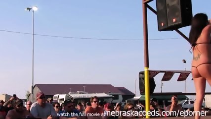 Interesting Amateur Pole Stripping Contest At A Iowa Biker Rally - scene 8