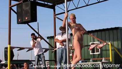 Interesting Amateur Pole Stripping Contest At A Iowa Biker Rally - scene 7