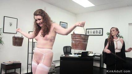 Busty Milf boss whips lesbian intern