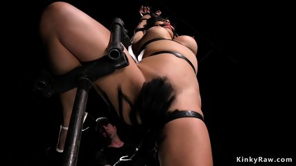 Busty Asian ass whipped in device bondage