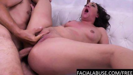 Nasty lil screamer gets a brutal DP
