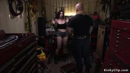 Busty brunette anal banged by mechanic