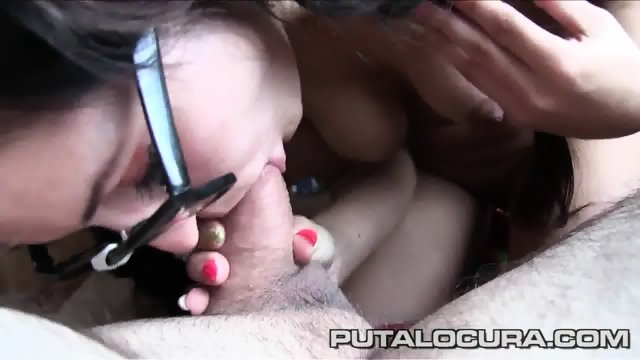 Naughty Girl With Glasses Takes Older Guy's Dick