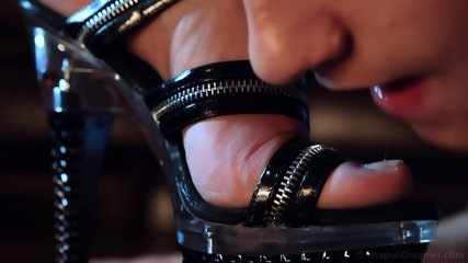 Latex mistress stiletto feet worship and hard strapon fucking