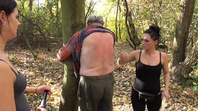 Mistress Ronja and Lady Lucy dominate and humiliate slaves outdoor