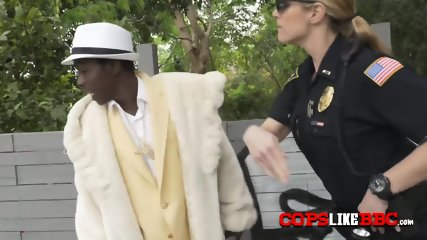 Pimp criminal is busted by perverted milf cops when he smacks his slut