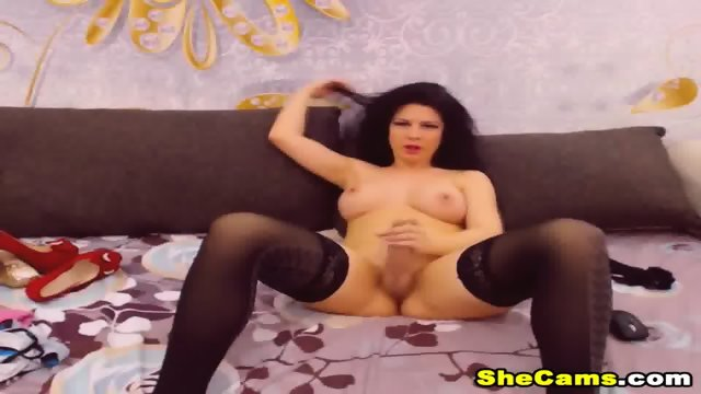 Huge Tits Shemale Jerking Her Big Hard Cock