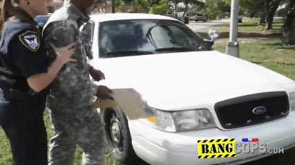 Milf cops take a shady soldier to private spot to bang their horny cunts