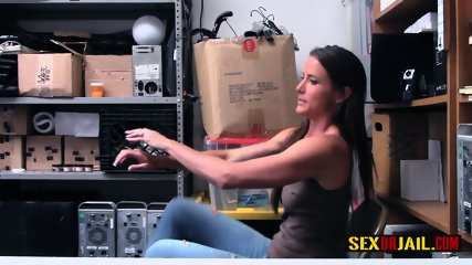 Sofie Marie gags on officers cock after getting cavities searched