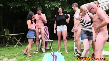 Euro femdom babes stroking dicks outdoors