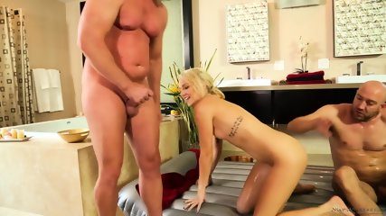 Awesome Blonde Takes Two Cocks - scene 11