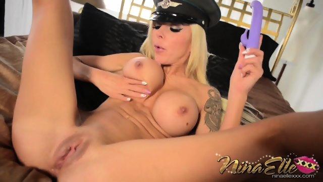 Violet Dildo In Busty Blonde's Vagina