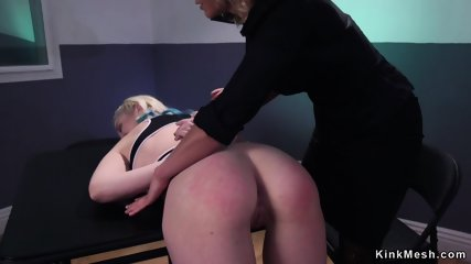 Pale blonde lesbian gets anal fisted