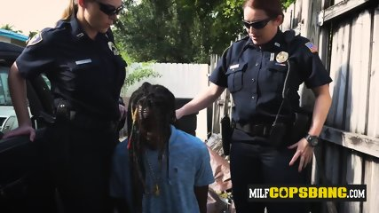 Criminal thug is caught painting gang signs by milf cops
