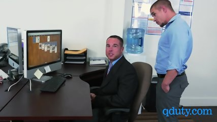 Horny gay employee is banged by his two kinky coworkers