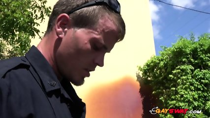 Thief is chased up to an alley and drilled by horny gay cops