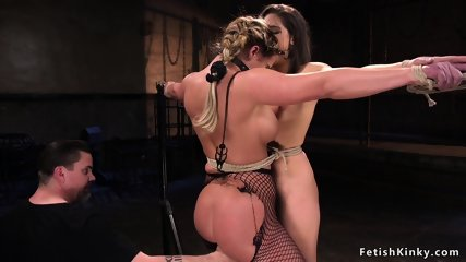 Tied up hot slaves made to be lesbians