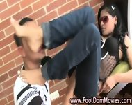 Domina Rubs Feet On Dude