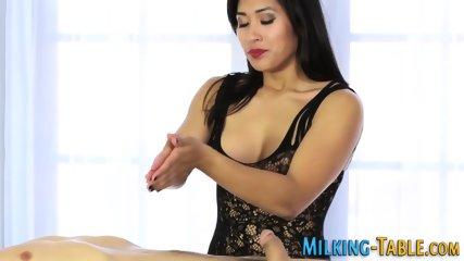 Asian masseuse foot tugs