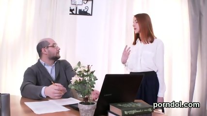 Kissable college girl is tempted and fucked by older lecturer