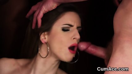 Nasty looker gets cumshot on her face eating all the load