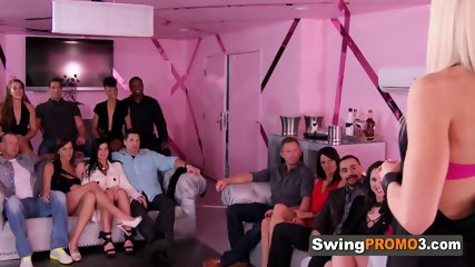 Couples meet in the event room for a steamy party with other swingers