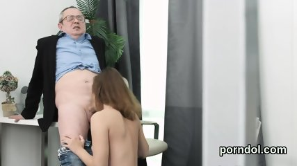 Pretty college girl was seduced and screwed by elderly teacher