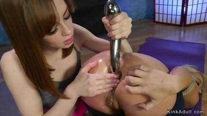 Brunette and blonde anal fisting