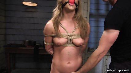 Blonde gets threesome slave training