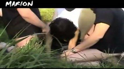 French slut gets gangbanged outdoor - scene 8