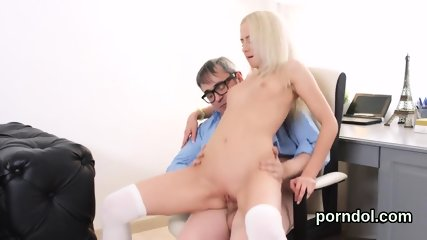 Sultry schoolgirl gets tempted and fucked by elderly teacher
